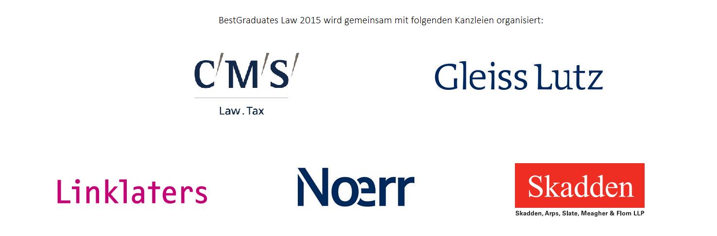 BestGraduates Law 2015 wird gemeinsam mit den folgenden Top Kanzleien organisiert: